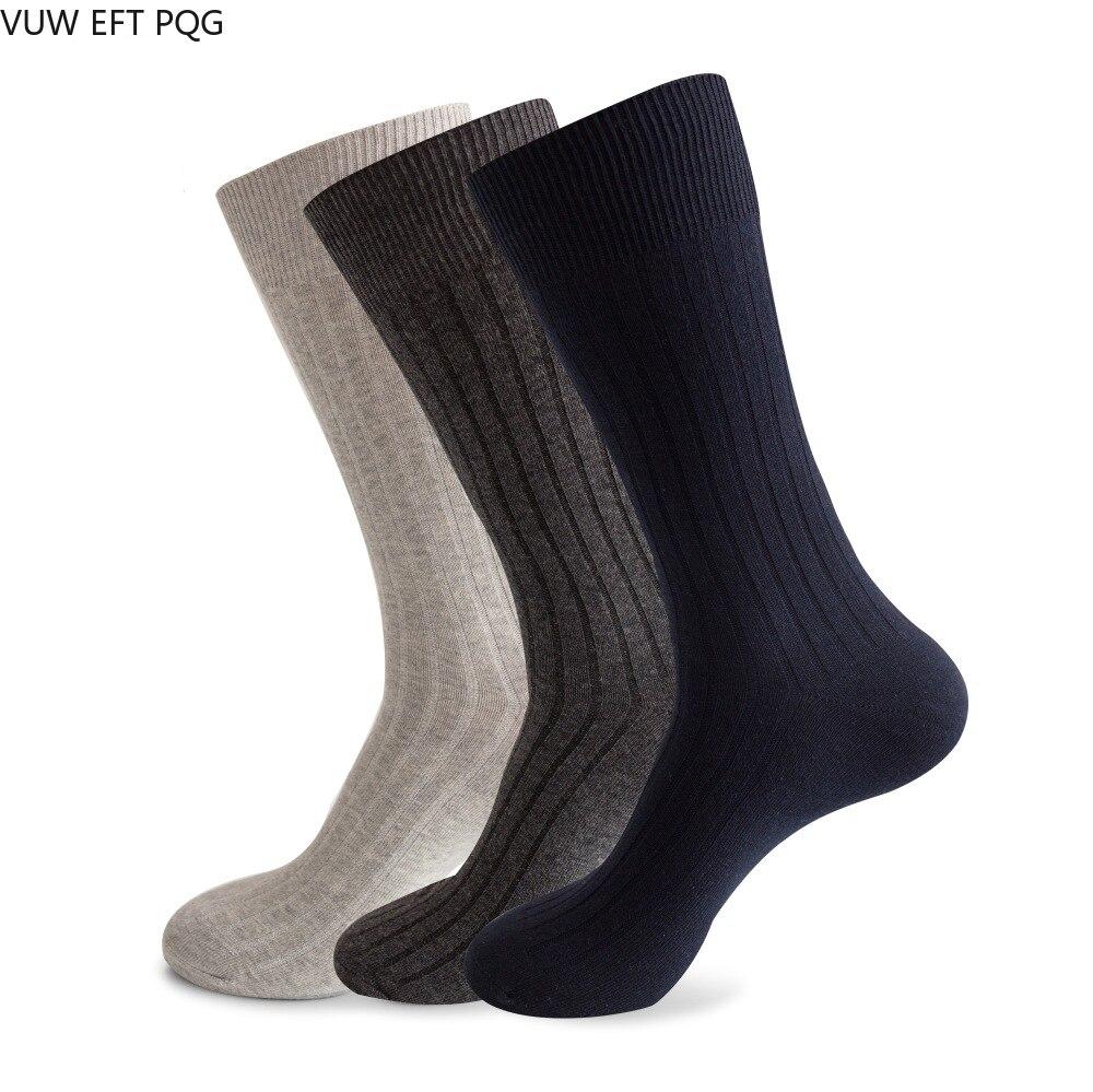 Изысканные трикотажные деловые хлопковые носки, однотонные модные мужские носки в подарок, крутые носки средней длины