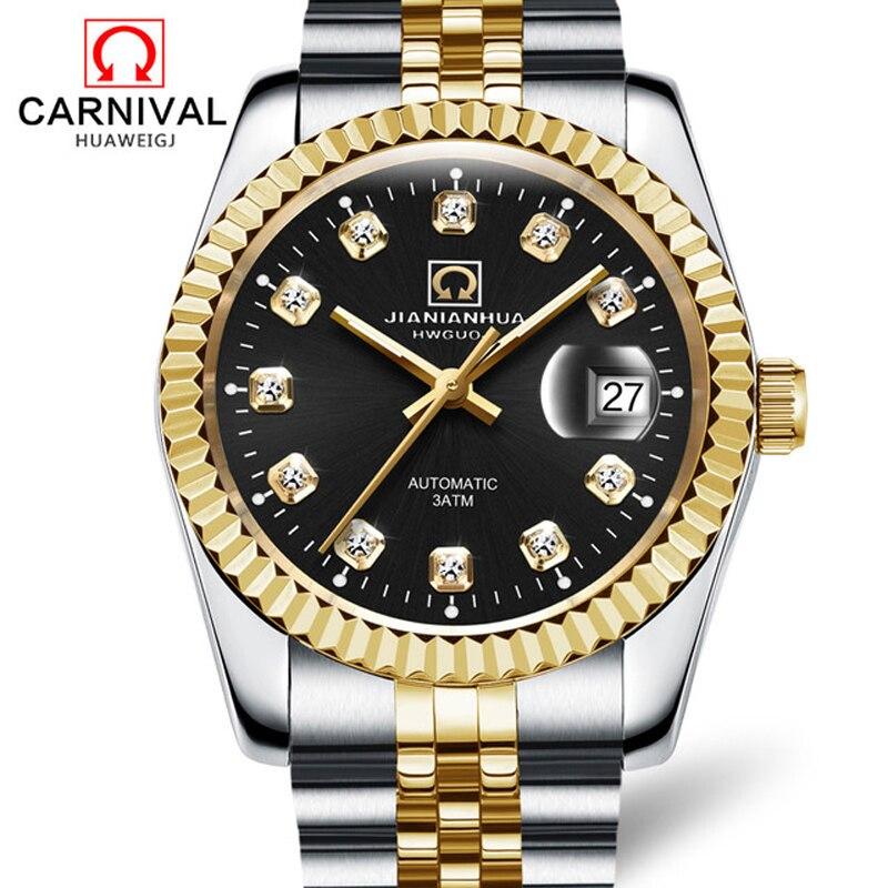 كرنفال العلامة التجارية موضة الذهب ساعة أوتوماتيكية الرجال مقاوم للماء الياقوت الأعمال التقويم الميكانيكية ساعة اليد Relogio Masculino