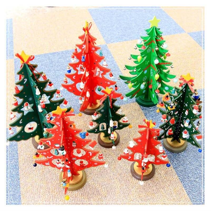 Mini árbol de Navidad de madera, decoración de Navidad creativa de doble...