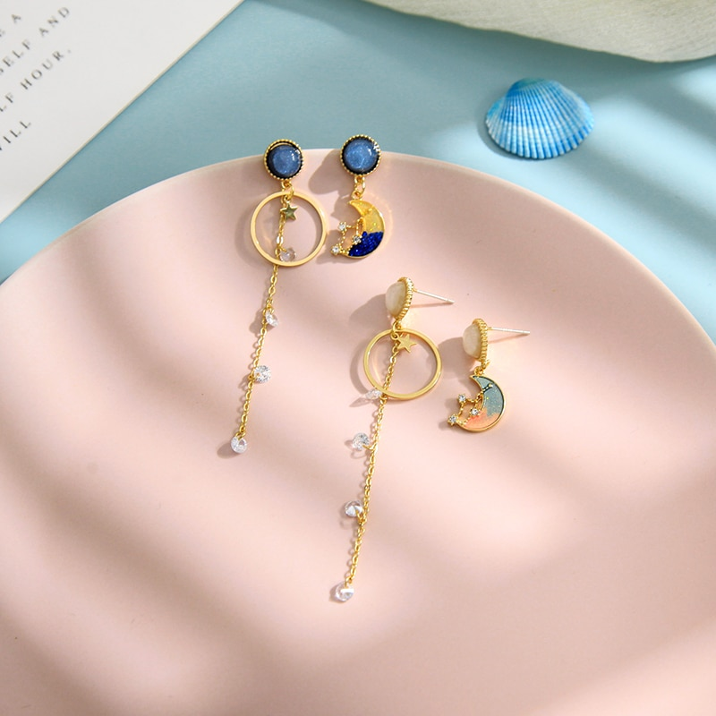 Moda 2020, venta al por mayor, estilo Instagram, verano, Color dorado, azul, rosa, esmalte, Luna asimétrica, colgante en forma de gota, pendientes para mujer