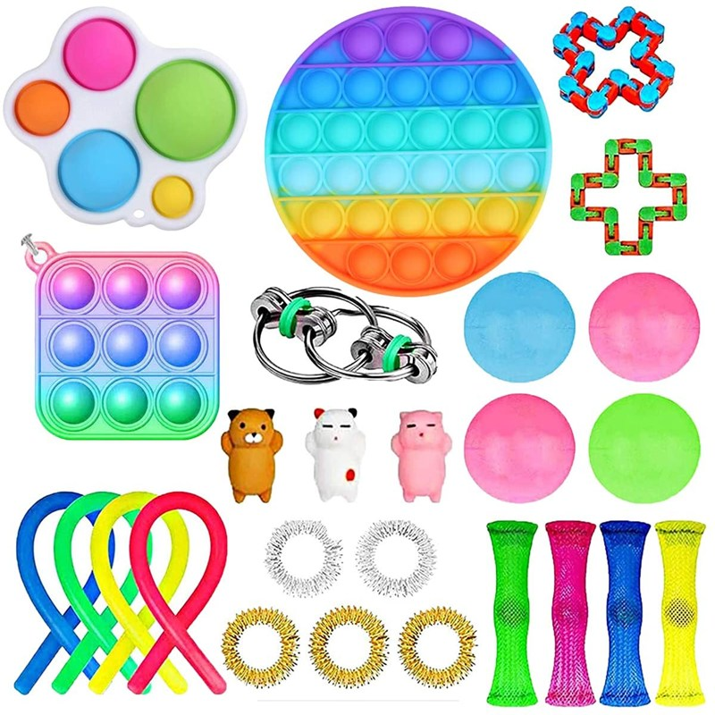 Fidget Toy Set Cheap Sensory Decompression Toy Pack Push Bubble Keychain Elastic Rope Sticky Ball Decompression Toy Set enlarge