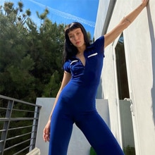 Bodysuit Fashion Short Sleeve Women Casual Party Catsuit Solid Club Party Jumpsuit One Piece Basic B