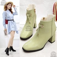 crystal pendant short winter boots women high heels candy color leather british square toe ankle boots for women bota feminina