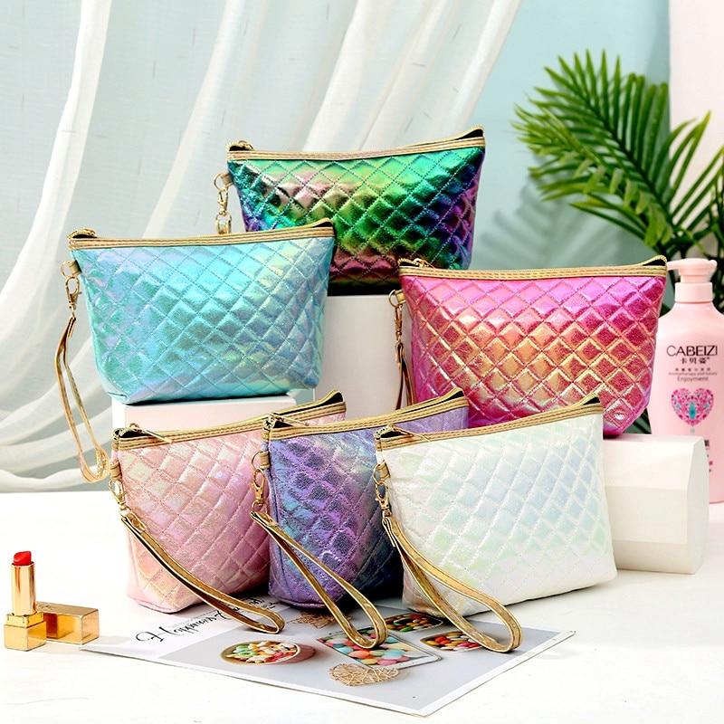 New Fashion Plaid Cosmetic Bag casual Travel Toiletry Storage Bag PU women makeup case organizer beauty bag