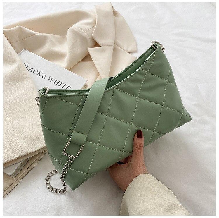Брендовая дизайнерская стеганая женская сумка через плечо, модная сумка-мессенджер на цепочке, маленькая квадратная