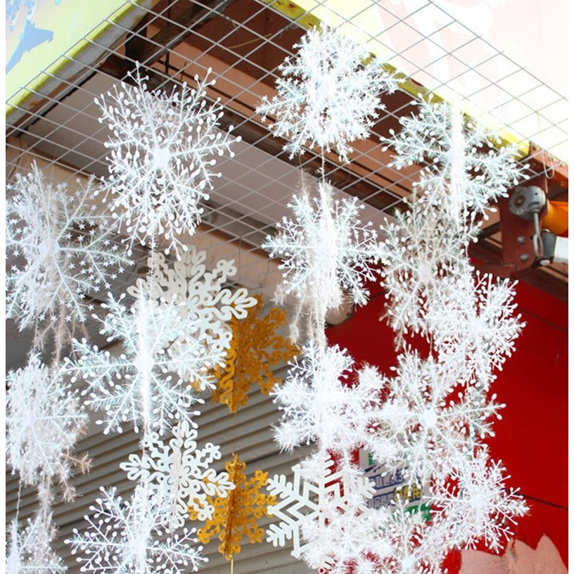 Christmas White Snowflake Decor For home Hanging Pendants New Year 2021 Gifts Xmas Tree Ornaments Window Stickers Decoration