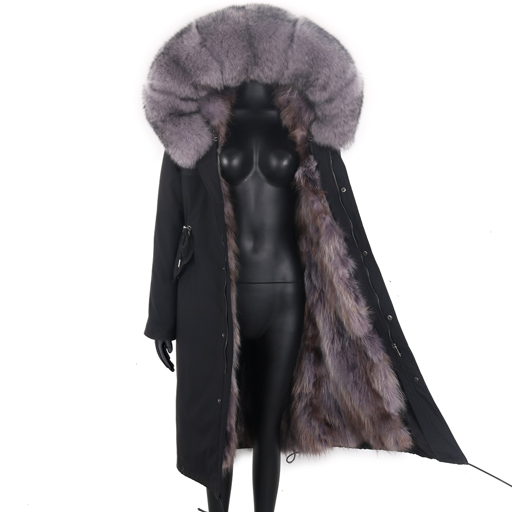 Женская длинная парка со съемным мехом, черная непромокаемая парка со съемным натуральным лисьим мехом на капюшоне, теплая верхняя одежда, ...