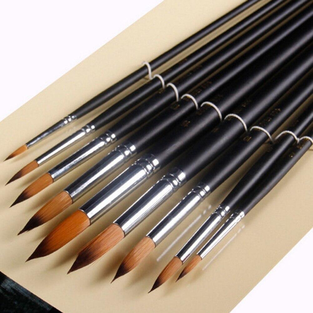 9pcs/set Long Handle Nylon Watercolor Paint Brushes Gouache Acrylic Painting Brush Pen Pincel Para Pintura Art Supplies