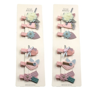 12PCS/2Card Cute LOVE Flowers Gray Girls Clips Bow Child Tie Knot Creativity Handmade Hairpins Fashion Hair Accessories For Kids