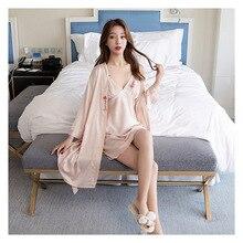 FZSLCYIYI Women Robe & Gown Sets Sexy Lace Sleep Lounge Pijama Long Sleeve Ladies Nightwear Bathrobe