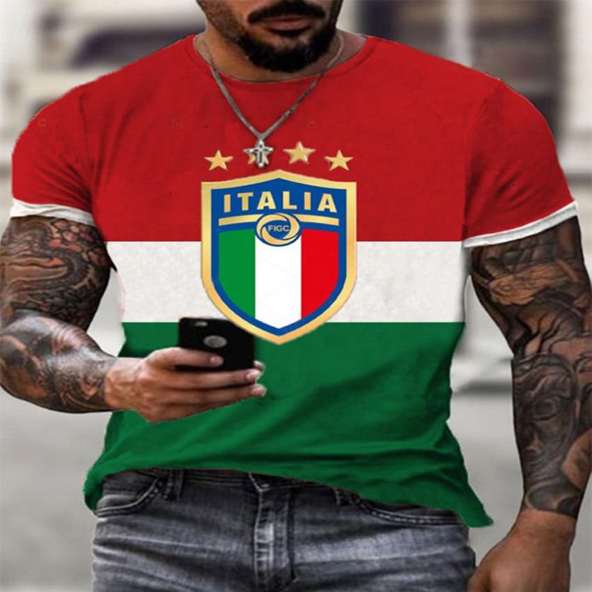Harajuku-Camiseta de manga corta con estampado de la bandera de Italia para...