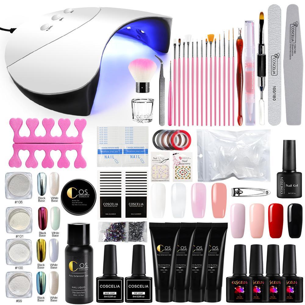 COSCELIA 36W lámpara de uñas LED UV secador Poly Kit de esmalte de uñas de Gel para Nials Art set Kit de esmalte de uñas de Gel para Kits de herramientas de manicura