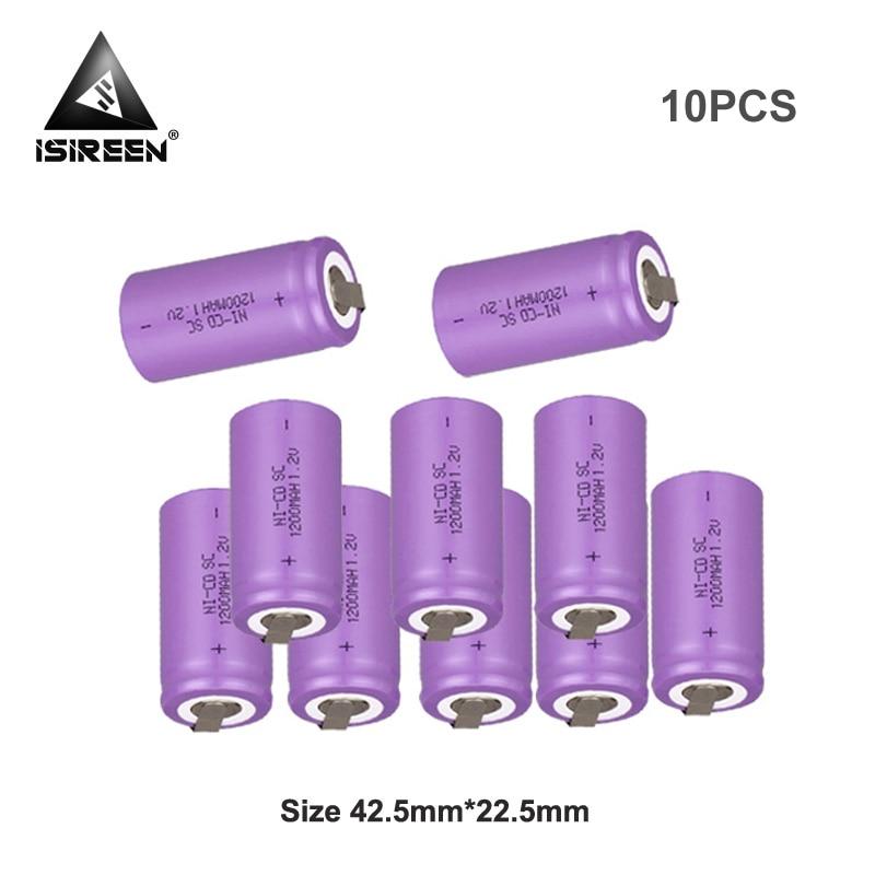 Subc Ni CD Cell 1,2 V 1200mAh DIY recargable SC Ni-CD batería de herramienta de poder de paquetes de 9,6 V 12V 14,4 V 18V juguetes eléctricos puntero láser