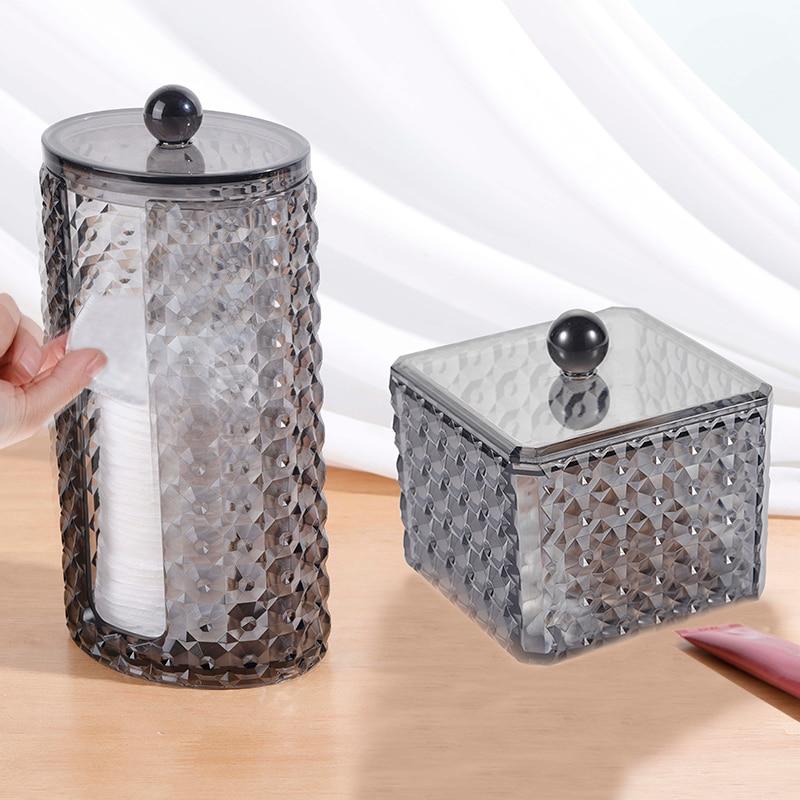 Cosmetic Storage Box Cotton Pad Organizer Bathroom Accessories Jewelry Lipstick Cotton Swab Storage Plastic Box Dustproof