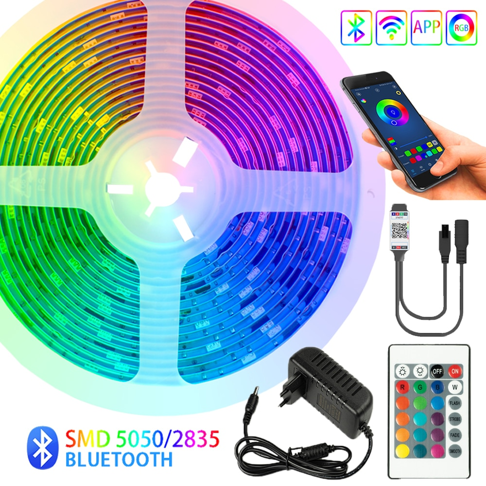 LED Strips Light Bluetooth TV Iuces RGB 5050 SMD 2835 Waterproof Flexible Lamp Tape Ribbon Diode Bac