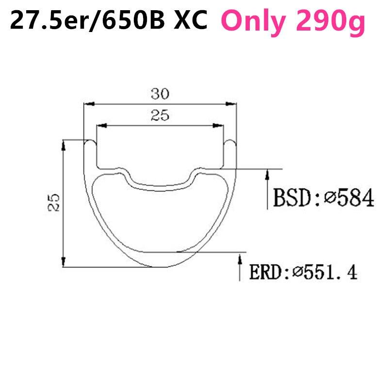 "290g 30mm * 25mm 27,5 er Super licht felge carbon rad mountainbike felgen mtb 650B carbon rim 27.5 ""felgen leichte rad"