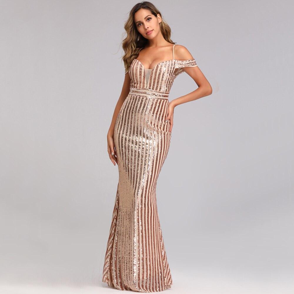 Sexy Sweetheart-cuello largo lentejuelas vestidos de cóctel espalda descubierta vestido de fiesta de graduación sin hombro sirena Formal vestido