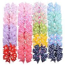 40pcs/lot Printed Hair Bows For Girls 3.2 Grosgrain Ribbon Bow Hairgrips Kids Flower Printed Hair Bow Hair Accessories