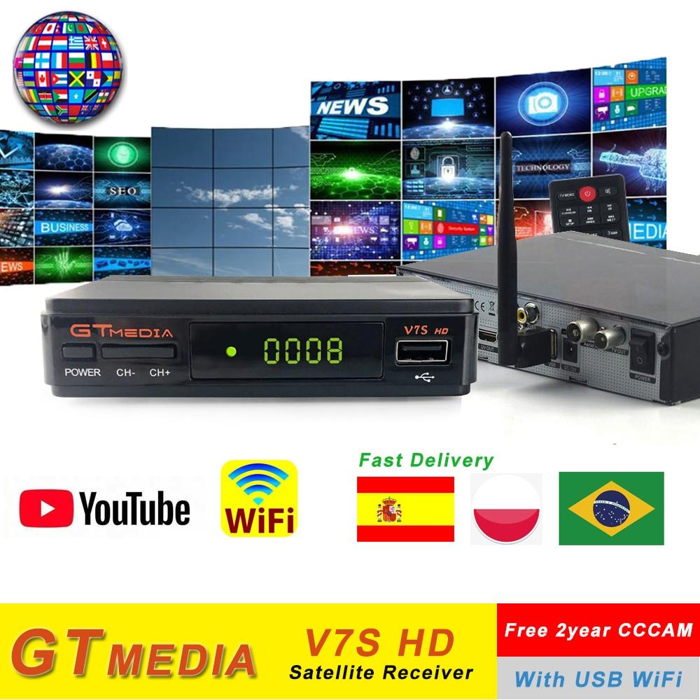 Medios GT v7s hd Freesat V7 hd con WIFI USB FTA TV receptor powervu soporte 2 años Europa cline Network compartir Youtube