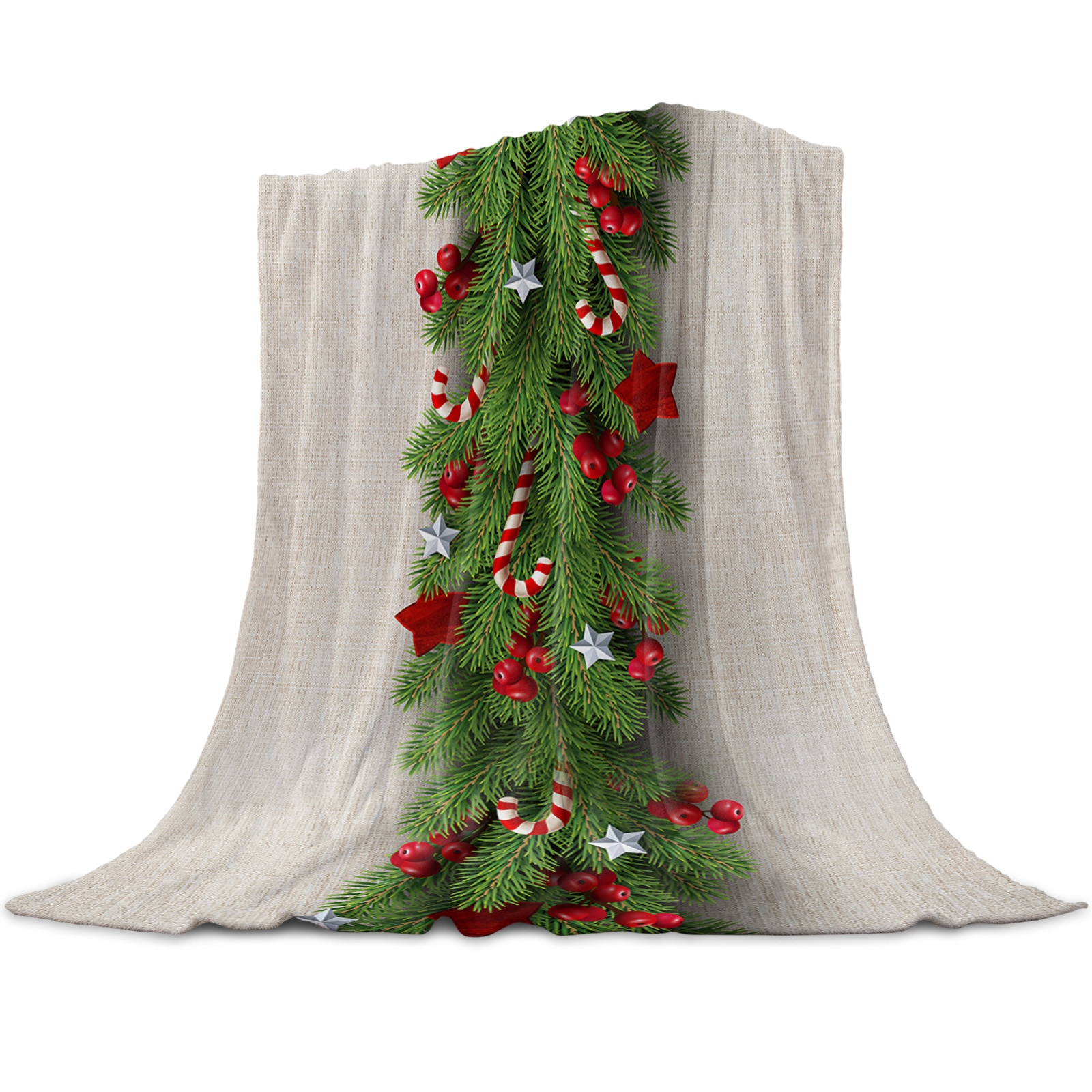 شجرة عيد الميلاد الصنوبر الإبر كاندي القوس رمي بطانية للأسرة ستوكات الفانيلا بطانية دافئة أريكة الفراش المفرش الهدايا