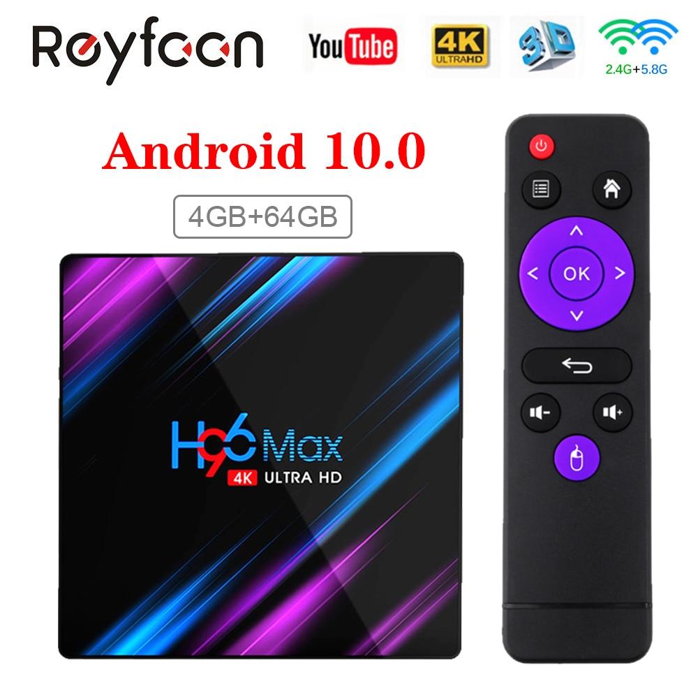 H96 Max Smart TV Box Android 10 RK3318 4GB 64GB USB3.0 1080P H.265 60fps Google Voice Assitant Youtube 4K Smart TVbox 9.0 H96max
