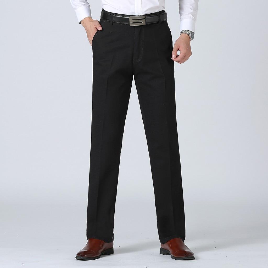 Pantalones de traje para hombre nuevo estilo de negocios Color liso Casual Slim Fit pantalones de gran Pantalón cómodo Pantalones rectos de talla grande # G2