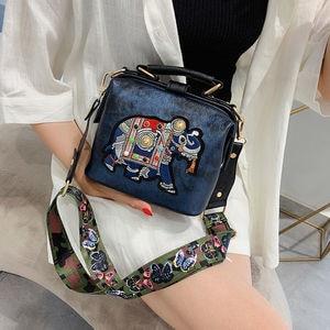 Women Elephant Embroidery Woman Shoulder Bag 2020 Butterfly Wide Shoulder Strap Luxury Handbags Women Bags Designer