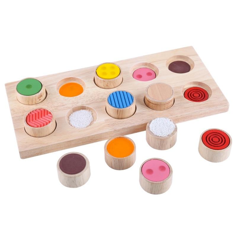preschool skills Baby Wooden Tactile Press Sensorial Kids Basic Skills Development Preschool Educational Toys for Toddlers