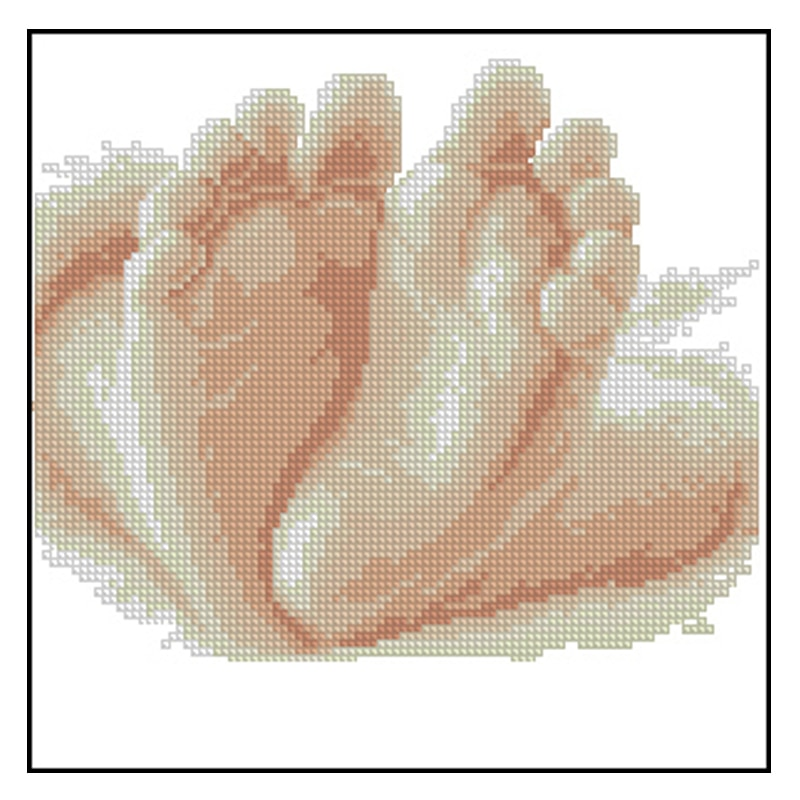 Calidad Superior nostálgico encantador lindo conteo Kit de punto de cruz 10 dedos pequeños niños PIE de bebé pies