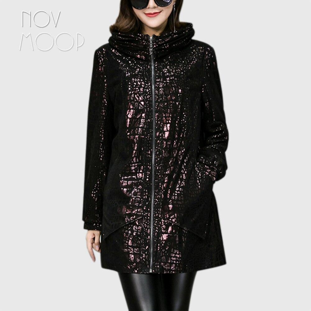 Abrigo de piel de oveja Novmoop estilo inglés de talla grande con capucha para mujer, gabardina de cuero auténtico, Chaqueta larga de lujo para mujer LT2844