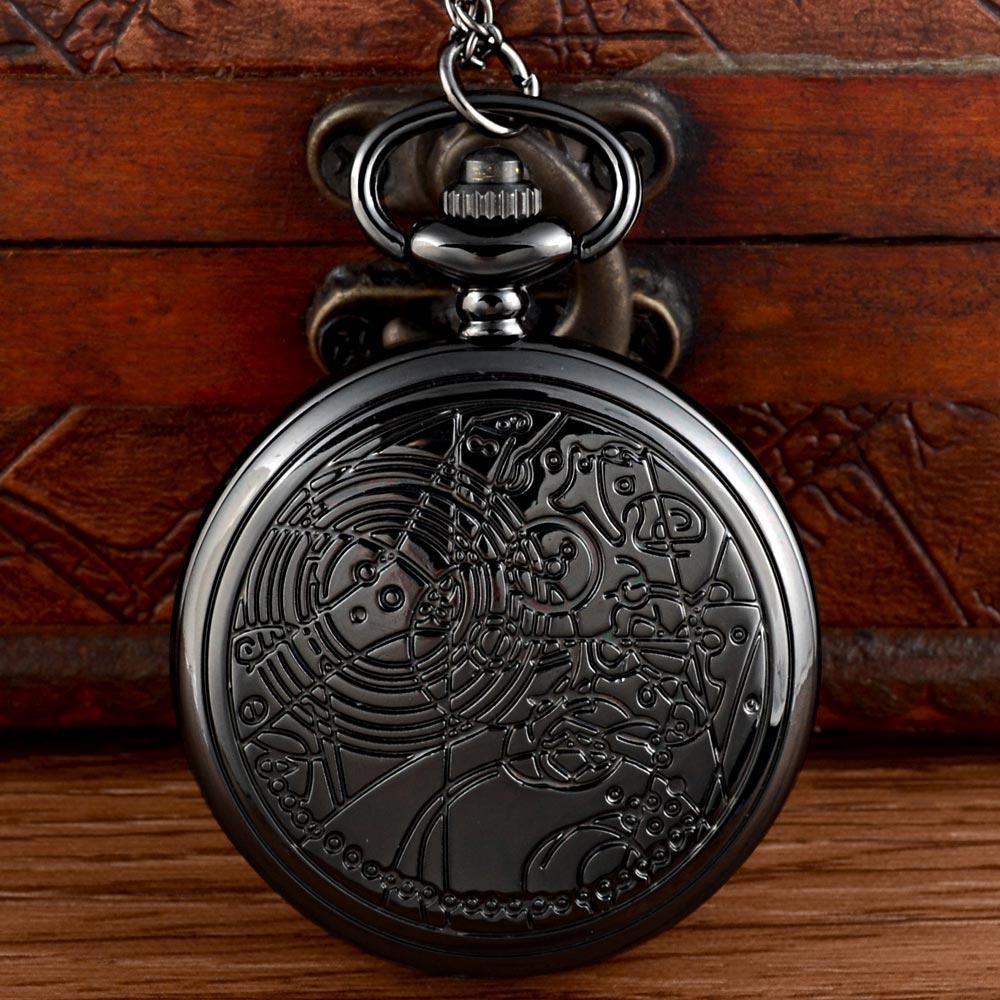 Recién llegado, reloj de bolsillo de cuarzo Doctor Who negro, cadenas, de las mujeres COLLAR COLGANTE, reloj de regalo
