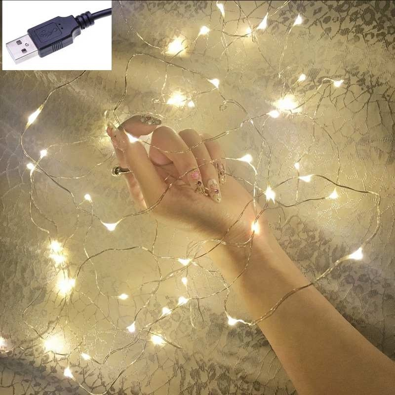 100 led string lights 10m 5m 1m usb waterproof copper silver wire garland fairy lights for christmas decoration wedding party 1M 5M 10M Copper Silver Wire USB LED String lights Waterproof Holiday lighting For Fairy Christmas Wedding Party Decoration