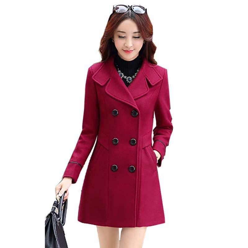 Women Coat Autumn Winter Fashion Women Woolen Coat 2020 New Casual Medium long Solid color Long-sleeved Women Woolen Coat LXL04