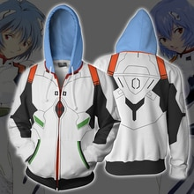 Anime neon genesis evangelion eva ayanami rei 코스프레 의상 지퍼 후드 티 스웨터 남성 여성용 캐주얼 패션 자켓