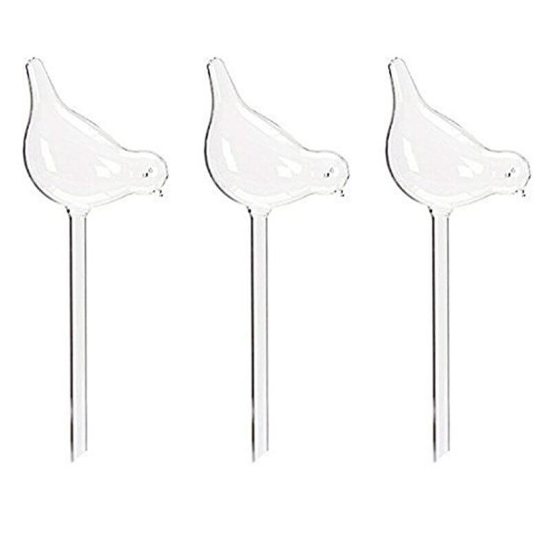 Caliente-3 Paquetes de Globos de agua para plantas, forma de pájaro soplado a mano de vidrio claro Aqua