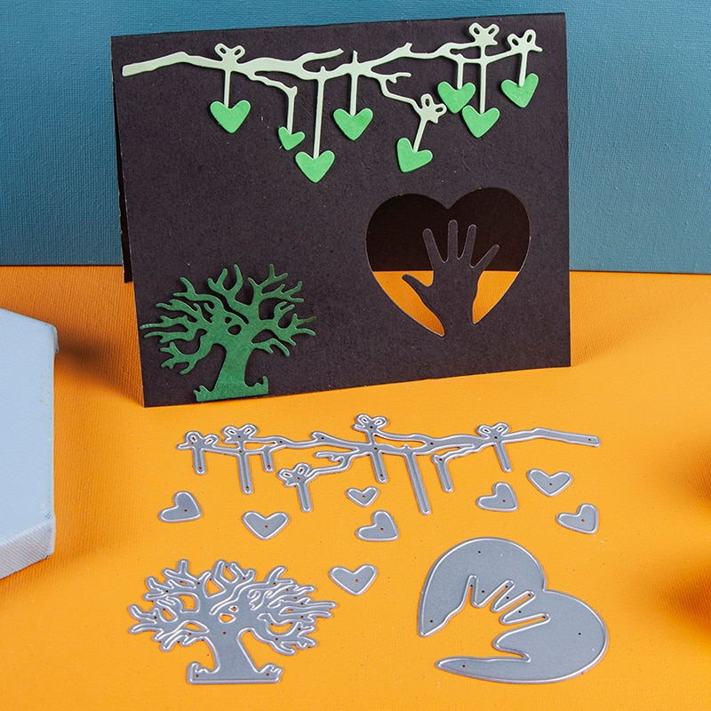 Corazón de mimbre, árbol de Metal corte morir mano corazón 3D Vignette Scrapbook decoración de papel artesanal cuchillo molde de cuchilla troquel agujereado morir 2020 nuevo