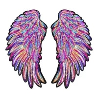 colorful rainbow feather wings sequin embroidered patches sew iron on badges for clothes diy appliques craft decor stickers