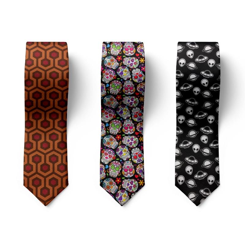 Мода черепа панк Мужская Аксессуары для галстуков, высокое качество, 8 см костюм Свадебная вечеринка галстук Смешные счастливые на каждый д...