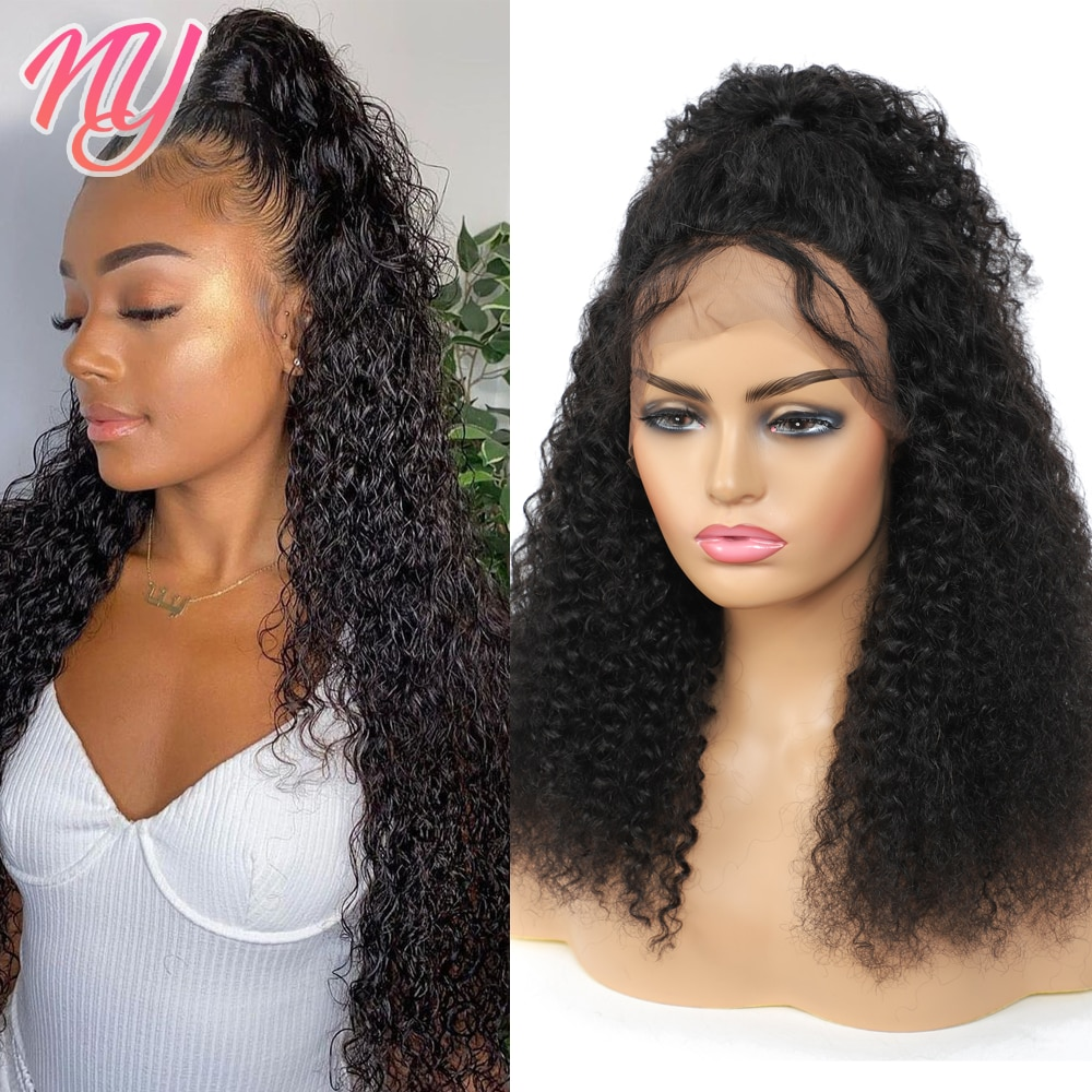 NY Curly 13*4*1 T-Part 4*4 Lace Closure 100% Human Hair Wigs Pre Plucked for Black Women knot-bleachable High Quality