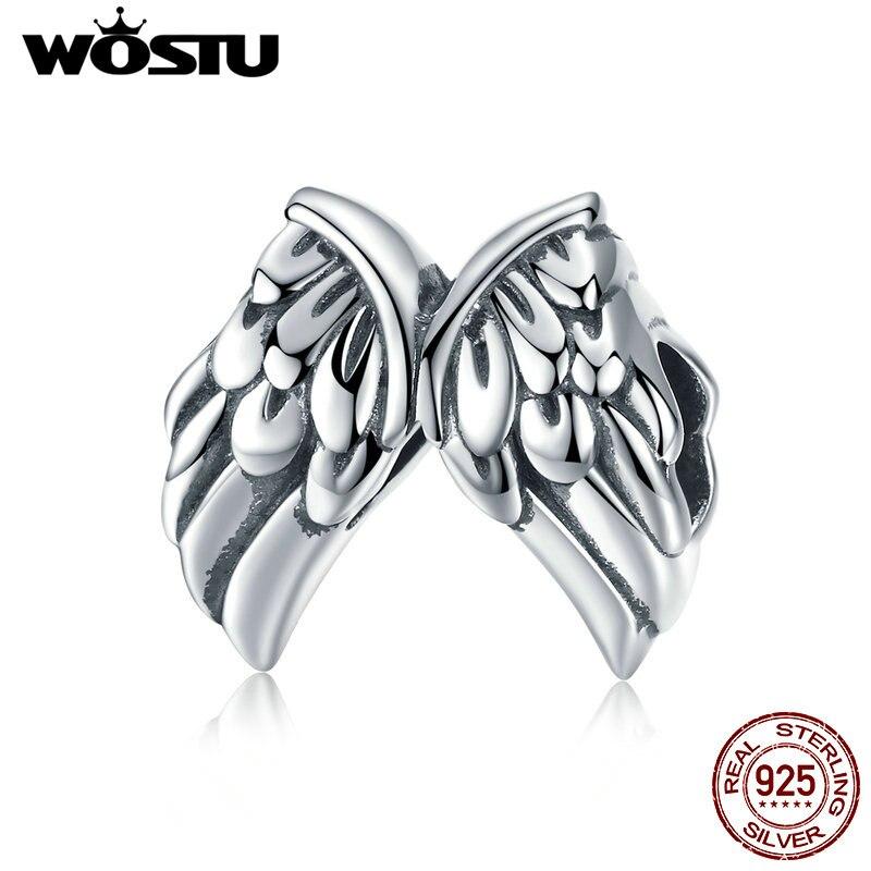 WOSTU gran oferta 925, colgante de plata de ley con alas de guardián, brazalete y Collar para mujer CQC1091