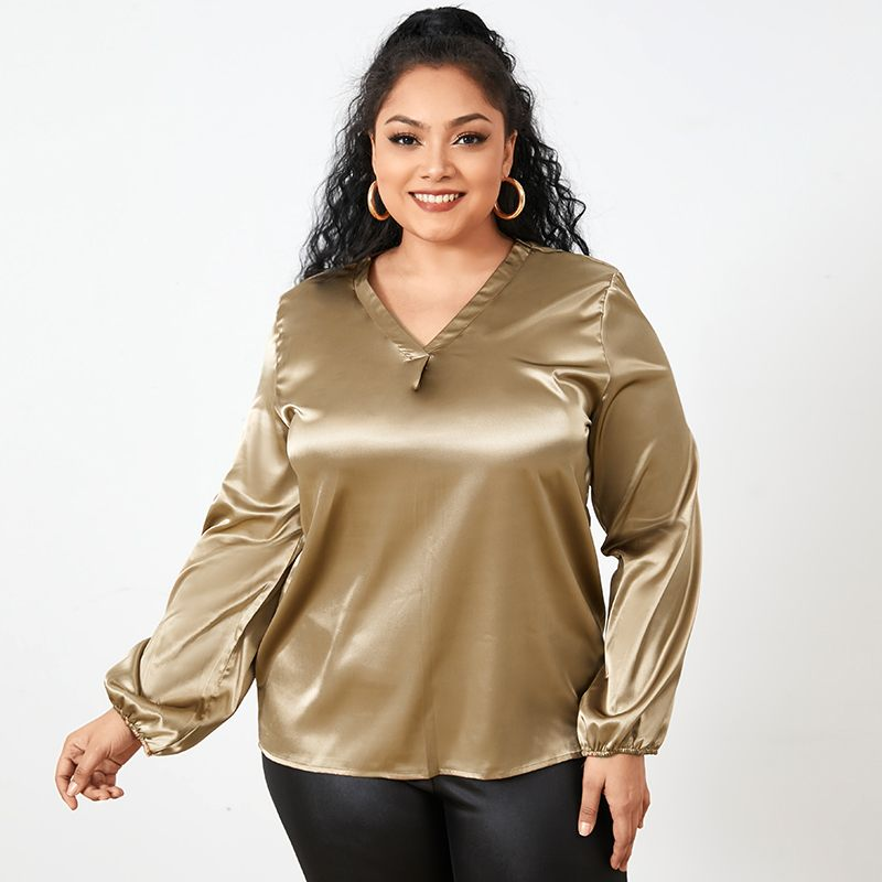 Autumn Casual Long Sleeve Tops Women Elegant Solid Satin Sexy V-Neck Blouses Celmia 2021 Office Ladies Fashion Blusas Plus Size