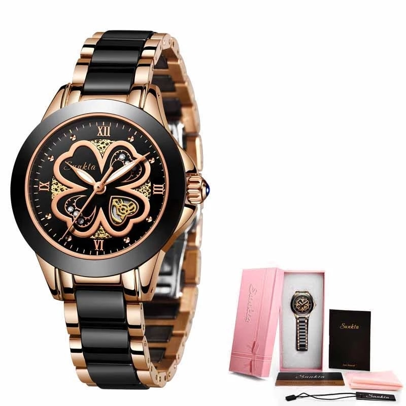 SUNKTA Brand Luxury Women Watches Black Ceramic Diamond Ladies Watch Gift Quartz Wristwatch Relogios Femininos Clock For Women enlarge