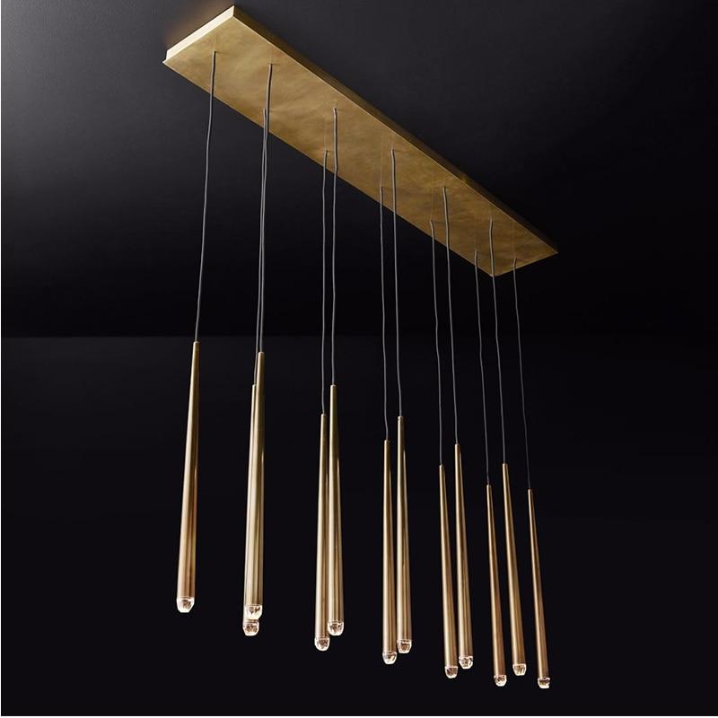 Retro Copper color LED crystal Chandelier lighting living room Dining room Pendant lamps bedroom staircase loft Hanging lights