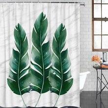 Banana Leaf On Marble Waterproof Fabric Shower Curtain Home Decoration Shower Curtains Bathroom Curtain &12 Hook