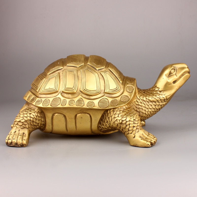 Ermakova latão feng shui tartaruga estátua sorte escultura animal para longevidade decoração de escritório em casa estatueta presente