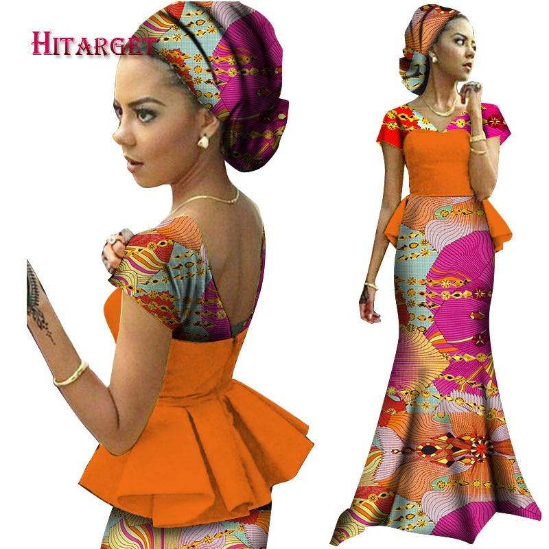 2020 африканские платья для женщин Vestidos Kanga одежда Дашики Африканский Воск Принт Сращивание драпированный аксессуар платья одежда WY1240