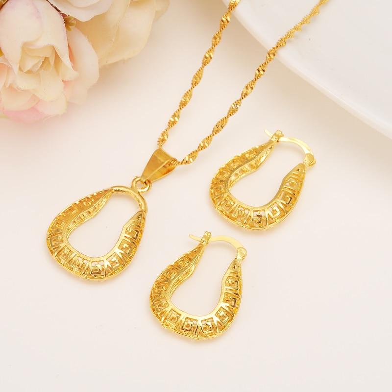 Real 18 k amarelo sólido fino g/f conjunto de ouro jóias pingente brincos corrente u molde noiva bijoux