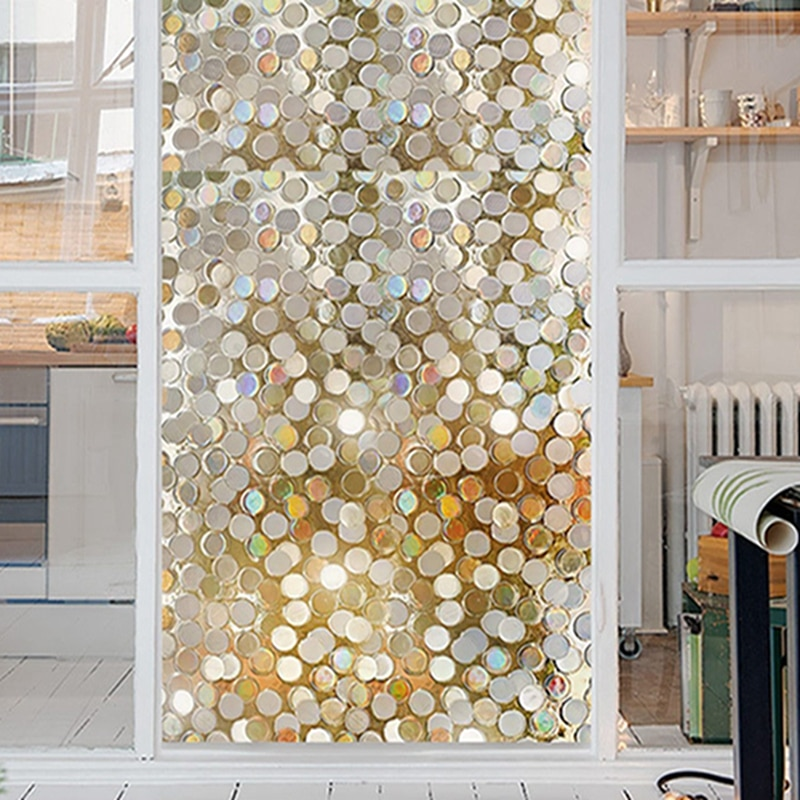 100*45cm pontos brilho adesivos de parede lantejoulas quarto sombreamento grades janela adesivo 3d opaco seguro wc filme vidro casa