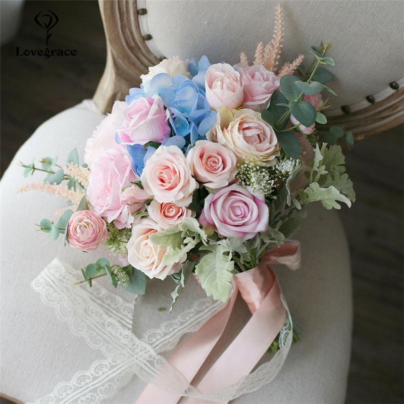 Lovegrace ramo de boda de seda Artificial Rosa flor novia dama de honor que sostiene Ramos Rosa Azul Decoración de mesa de boda