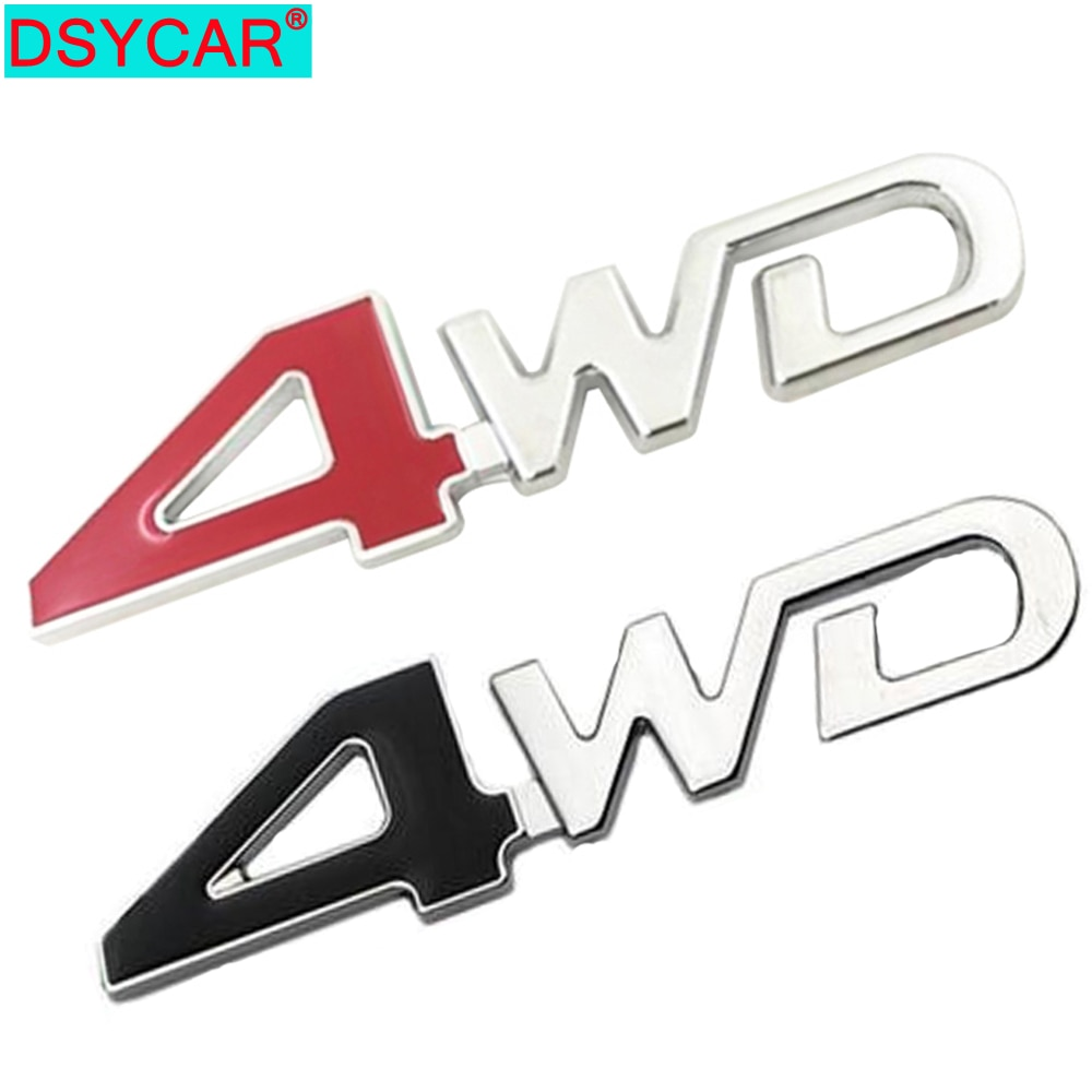 Pegatina de coche DSYCAR para parte trasera lateral de Metal 4x4 RC 4WD, insignia cromada 3D, emblema de coche, calcomanía, decoración de coche, 4WD rojo para maletero SUV